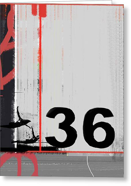 Number 36 Greeting Card by Naxart Studio