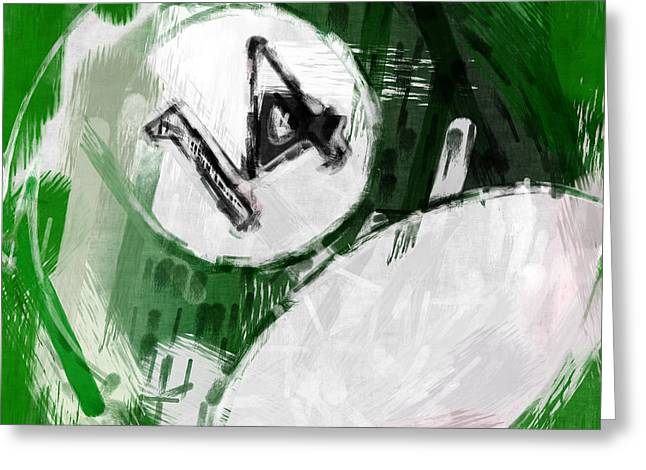 Number Fourteen Billiards Ball Abstract Greeting Card by David G Paul