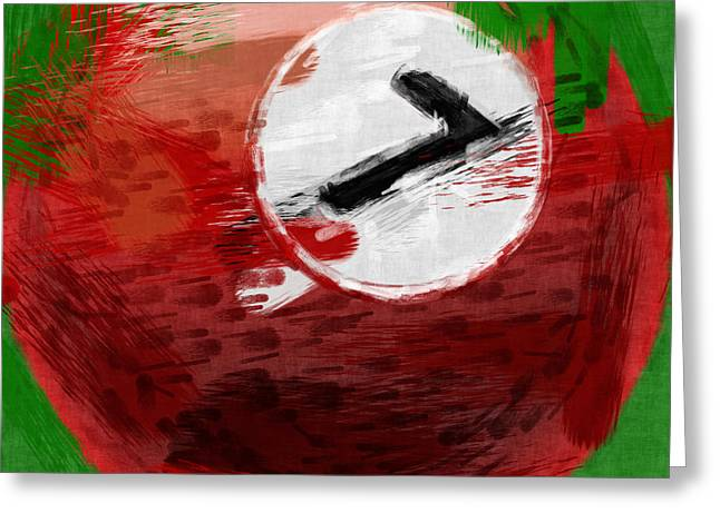 Billiards Greeting Cards - Number Seven Billiards Ball Abstract Greeting Card by David G Paul