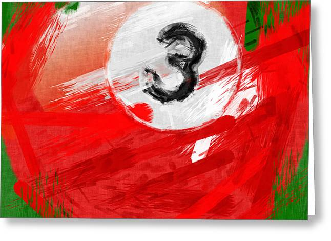 Billiards Greeting Cards - Number Three Billiards Ball Abstract Greeting Card by David G Paul