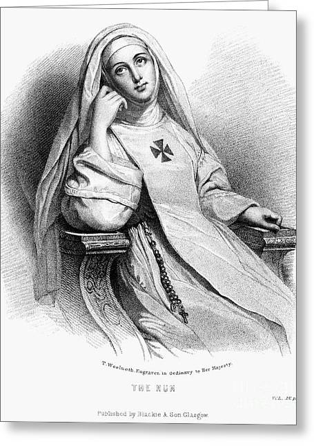 Rosary Greeting Cards - NUN, 19th CENTURY Greeting Card by Granger