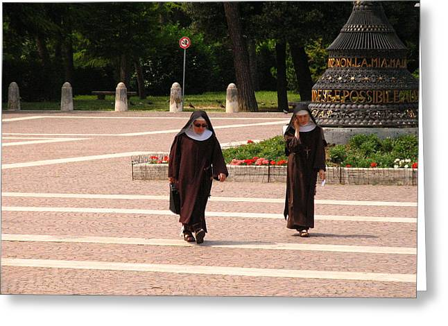 Nuns Greeting Cards - Nun on Cell Phone Greeting Card by Don Wolf