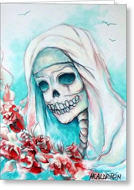 Cemetary Paintings Greeting Cards - Nun with Flowers Greeting Card by Heather Calderon