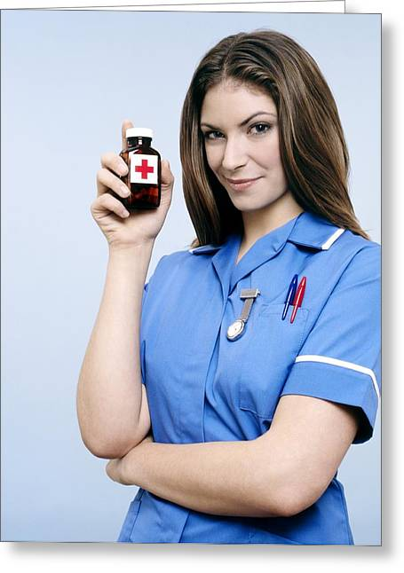 Watch Fob Greeting Cards - Nurse Holding A Bottle Of Pills Greeting Card by Kevin Curtis