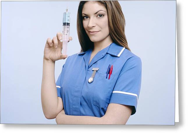 Watch Fob Greeting Cards - Nurse Pumping A Syringe Greeting Card by Kevin Curtis