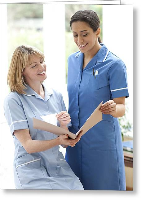 20-24 Years Greeting Cards - Nurses Checking Notes Greeting Card by