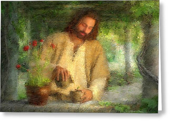 Flowers Greeting Cards - Nurtured by the Word Greeting Card by Greg Olsen