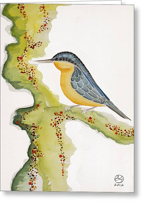 Lady Tapestries - Textiles Greeting Cards - Nuthatch SIX Greeting Card by Alexandra  Sanders