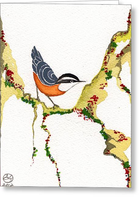 Lady Tapestries - Textiles Greeting Cards - Nuthatch THREE Greeting Card by Alexandra  Sanders
