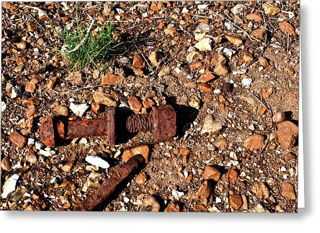 Nuts and Bolts Rusted Greeting Card by Douglas Barnett
