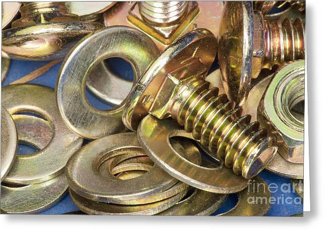 Nuts Bolts and Washers Greeting Card by Shannon Fagan