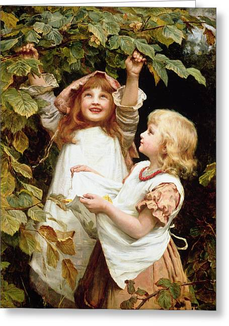Shaking Greeting Cards - Nutting Greeting Card by Frederick Morgan