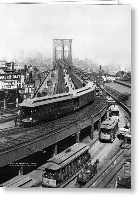 1898 Greeting Cards - Ny: Brooklyn Bridge, 1898 Greeting Card by Granger