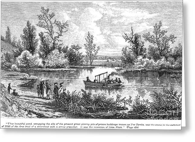 Steamboat Greeting Cards - Ny: Fitchs Steamboat 1796 Greeting Card by Granger