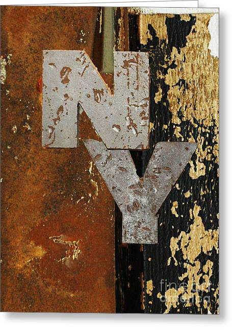 Commercial Photography Mixed Media Greeting Cards - NY Industrial Wall Art Greeting Card by Anahi DeCanio