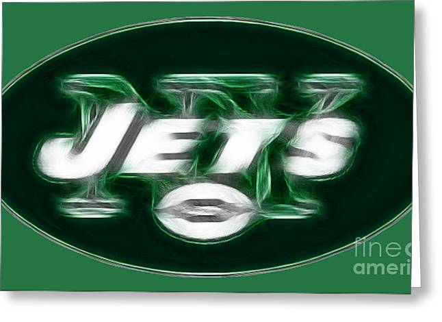 Cave Wall Greeting Cards - NY JETS fantasy Greeting Card by Paul Ward