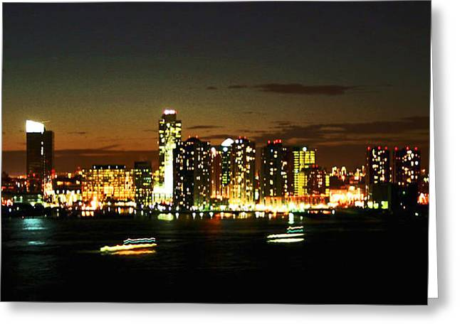 Side View Mixed Media Greeting Cards - Ny Night Skyline Greeting Card by Jenn Bodro