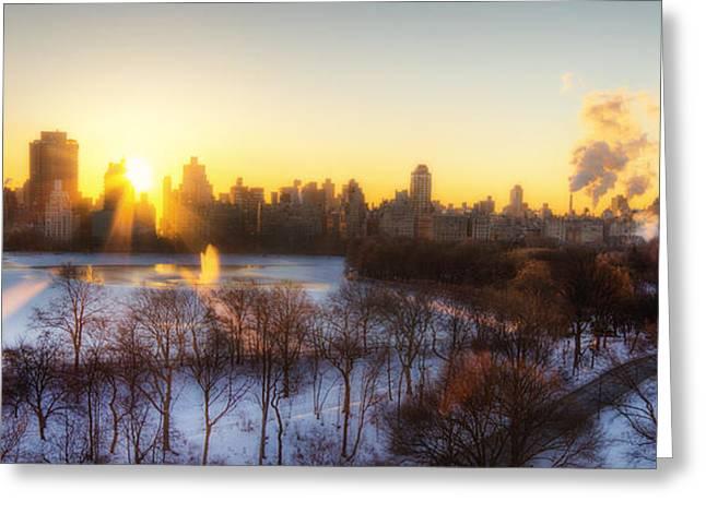 Times Square Digital Art Greeting Cards - NY Winter panaroma Greeting Card by Ariane Moshayedi