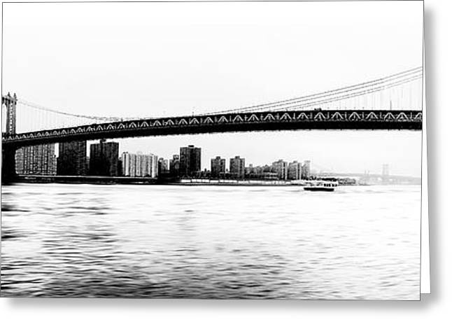 Nyc - Manhattan Bridge Greeting Card by Hannes Cmarits