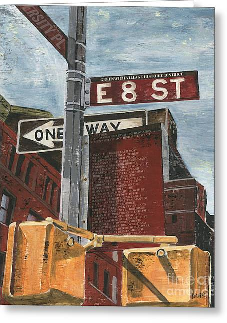 Street Lights Greeting Cards - NYC 8th Street Greeting Card by Debbie DeWitt