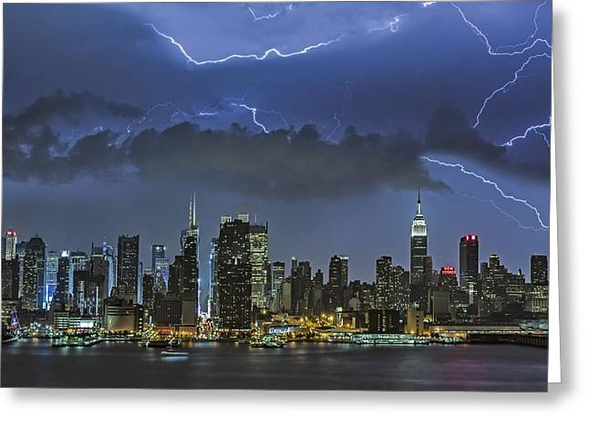 Flash Greeting Cards - NYC All Charged Up Greeting Card by Susan Candelario