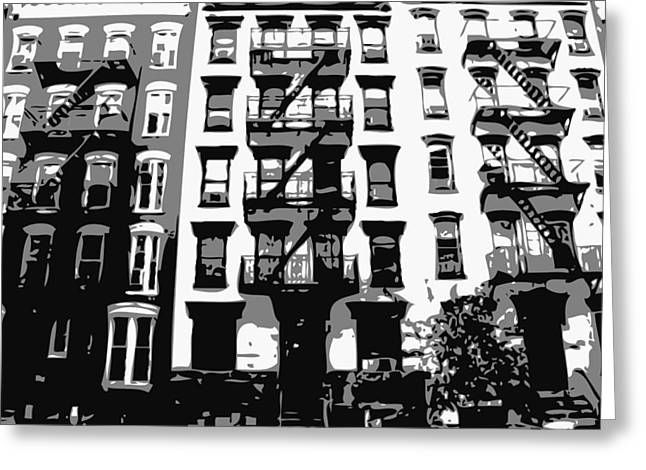 Times Square Digital Art Greeting Cards - NYC Apartment BW3 Greeting Card by Scott Kelley