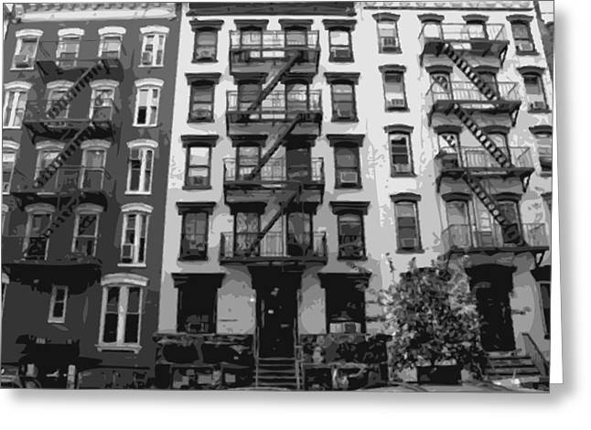 Times Square Digital Art Greeting Cards - NYC Apartment BW8 Greeting Card by Scott Kelley