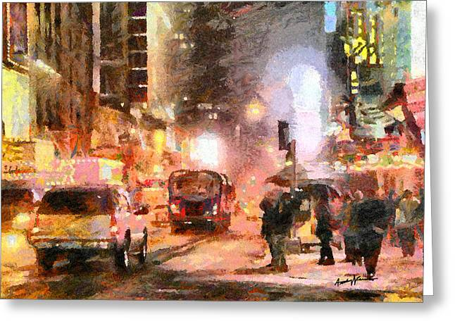 Evening Lights Digital Art Greeting Cards - NYC at Night Greeting Card by Anthony Caruso