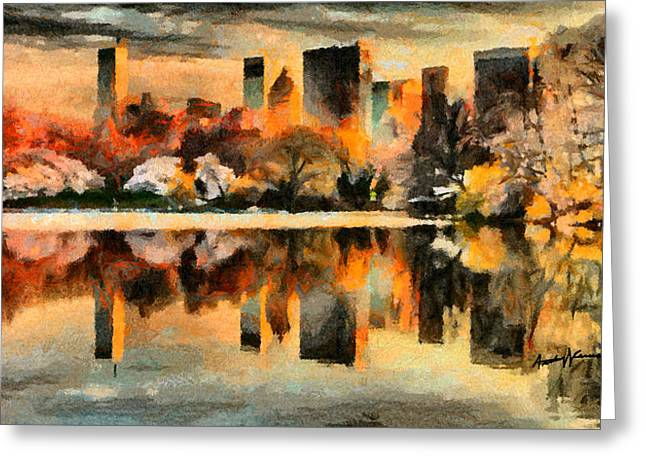 Reflecting Water Digital Art Greeting Cards - NYC at Sunset Greeting Card by Anthony Caruso