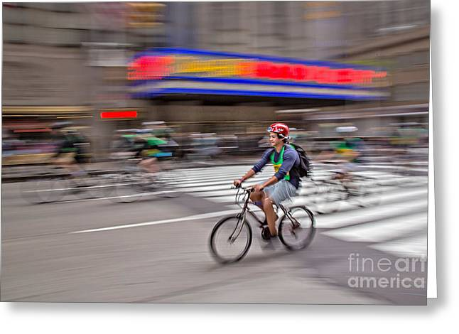 North America Greeting Cards - NYC Bike Tour Greeting Card by Susan Candelario