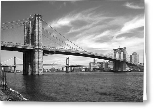 Lines Greeting Cards - NYC Brooklyn Bridge Greeting Card by Mike McGlothlen