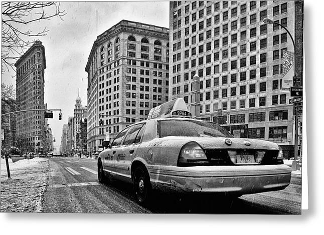 Nyc Winter Greeting Cards - NYC Cab and Flat Iron Building black and white Greeting Card by John Farnan