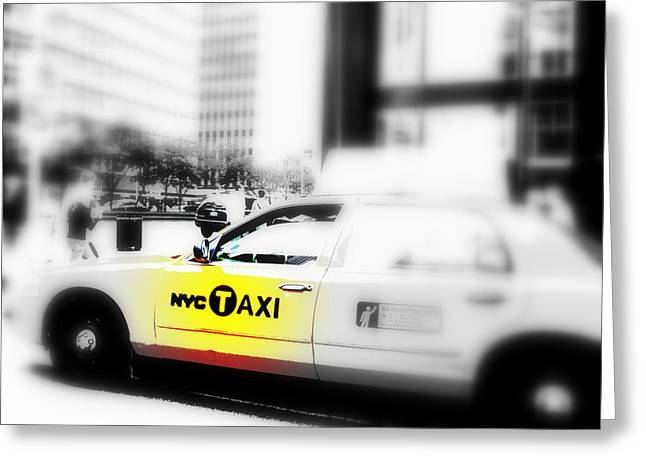 Times Square Digital Art Greeting Cards - NYC Cab Greeting Card by Funkpix Photo Hunter