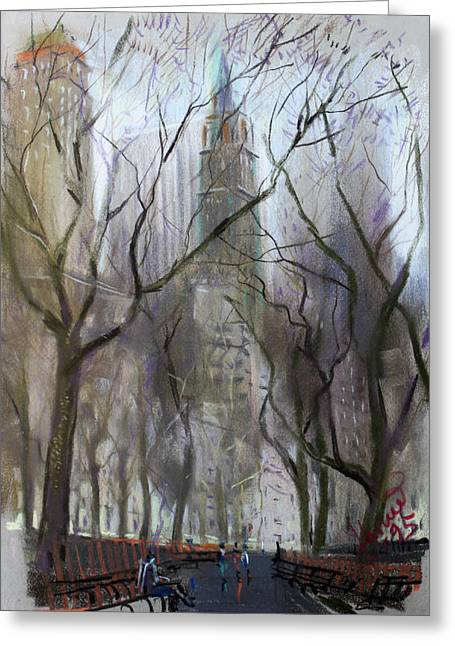 Cities Pastels Greeting Cards - NYC Central Park 1995 Greeting Card by Ylli Haruni