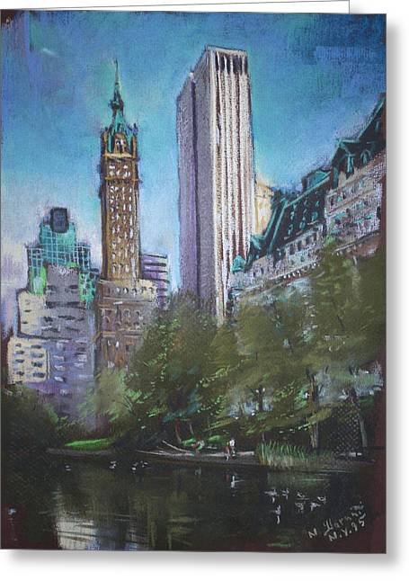 New York City Pastels Greeting Cards - NYC Central Park 2 Greeting Card by Ylli Haruni