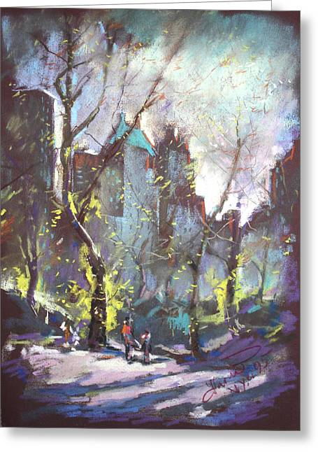 People Pastels Greeting Cards - NYC Central Park Controluce Greeting Card by Ylli Haruni