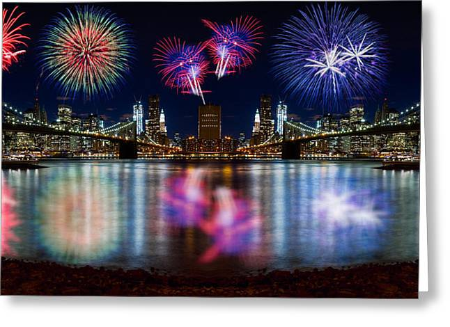 Nyc From Both Universes Greeting Card by Val Black Russian Tourchin