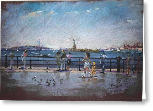 People Pastels Greeting Cards - NYC Grand Ferry Park 2 Greeting Card by Ylli Haruni