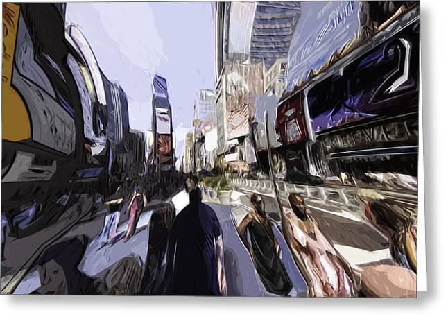 Times Square Digital Art Greeting Cards - NYC impression Greeting Card by Robert Ponzoni