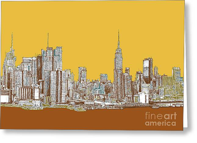 Red Buildings Drawings Greeting Cards - NYC in mustard Greeting Card by Lee-Ann Adendorff