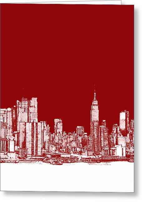 Red Buildings Drawings Greeting Cards - NYC in red n white Greeting Card by Lee-Ann Adendorff