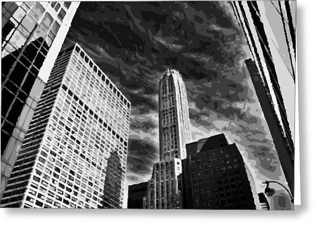 The Capital Of The World Greeting Cards - NYC Looking Up BW10 Greeting Card by Scott Kelley