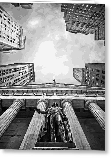 Capital Of The Universe Greeting Cards - NYC Looking Up BW16 Greeting Card by Scott Kelley