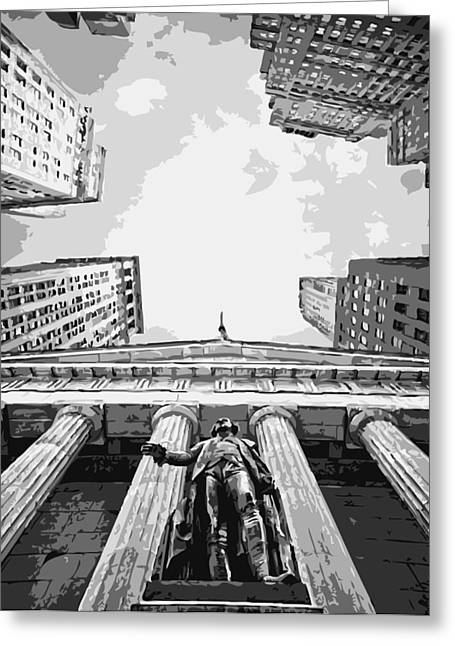 Capital Of The Universe Greeting Cards - NYC Looking Up BW6 Greeting Card by Scott Kelley
