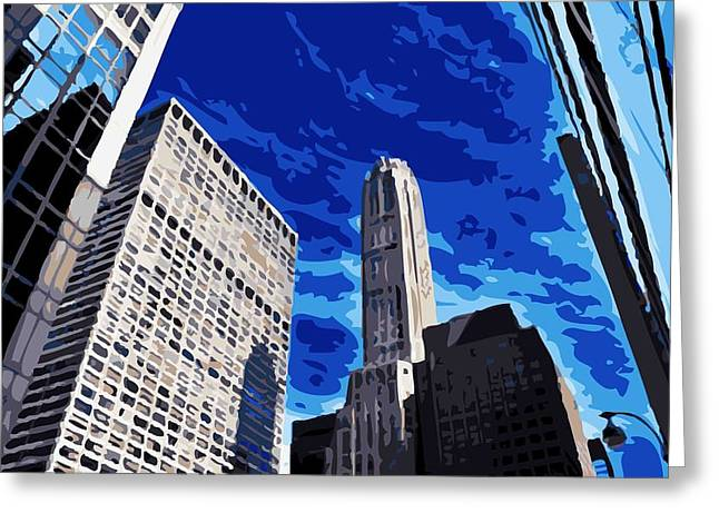 The Capital Of The World Greeting Cards - NYC Looking Up Color 16 Greeting Card by Scott Kelley