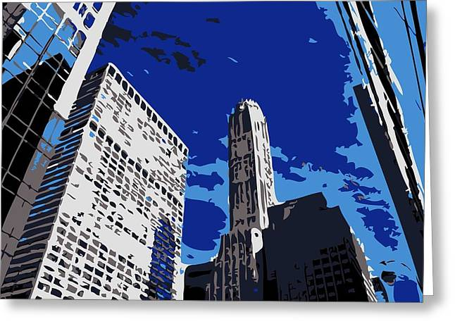 The Capital Of The World Greeting Cards - NYC Looking Up Color 6 Greeting Card by Scott Kelley
