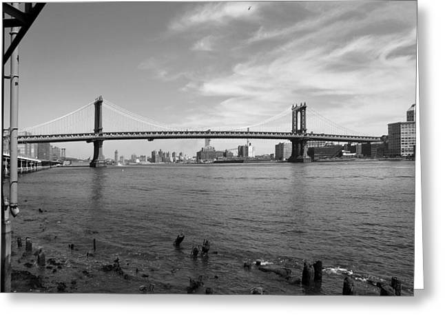 Bridge Greeting Cards - NYC Manhattan Bridge Greeting Card by Mike McGlothlen