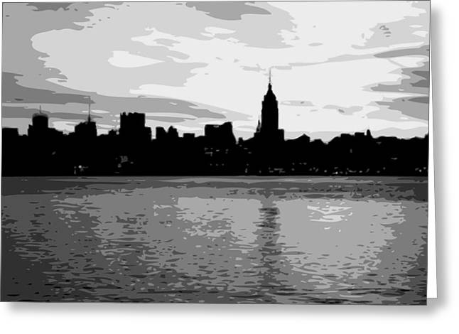 The Capital Of The World Greeting Cards - NYC Morning BW8 Greeting Card by Scott Kelley