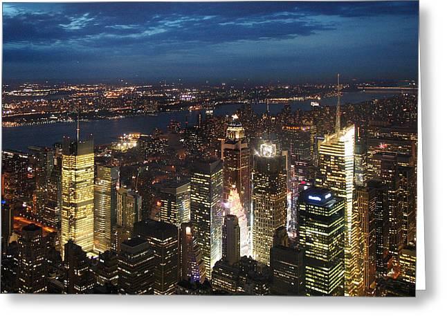 Nightshot Greeting Cards - NYC Night Lights Greeting Card by Nina Papiorek