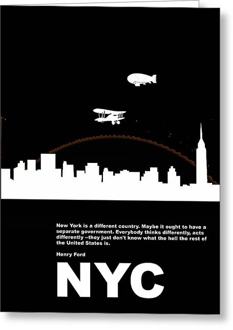 Carriage Greeting Cards - NYC Night Poster Greeting Card by Naxart Studio
